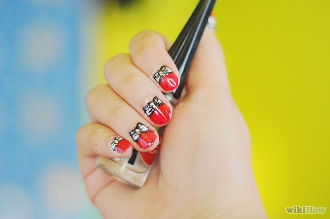 How to Create Minnie Inspired Nail Art 1