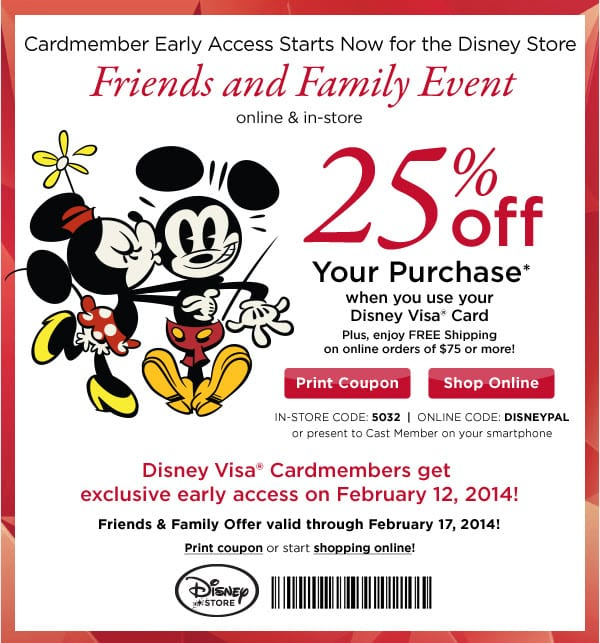 Disney Rewards: Early access starts now to Disney Store Friends & Family Event 2/12/14 1