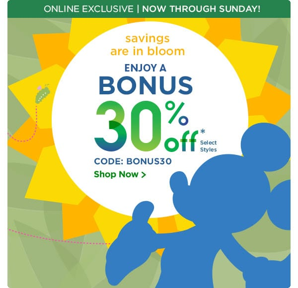 Enjoy A Bonus 30% Off Select Styles at the DisneyStore.com this weekend (Online Exclusive) 1