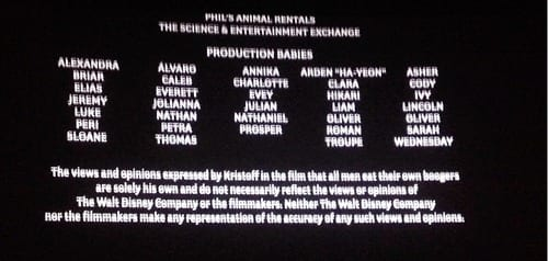 """Funny Disclaimer in the Closing Credits of """"Frozen"""" 1"""