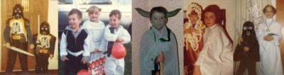 Left to right: Jeff Parks and sis as Vaders '78, Anthony Day and family in '83, Sean Carmichael, Lorri King in '78, and Brian and Laura Robertson in '80.
