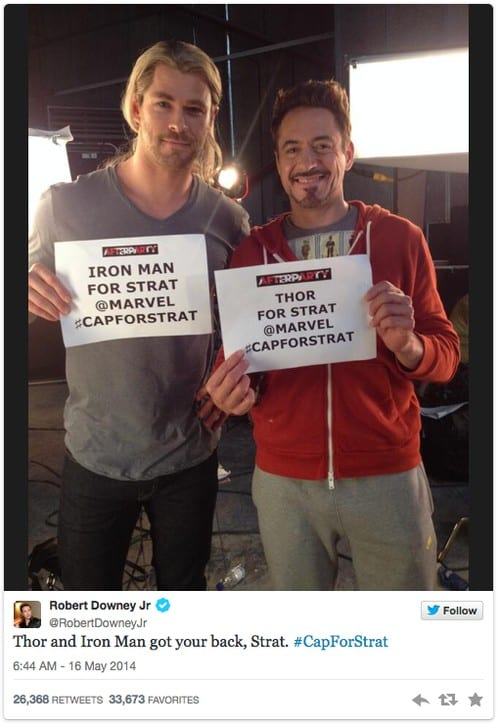 Major Random Act of Kindness ~ Avengers Tweet for Fan Dying of Cancer 5