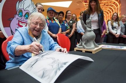 Actress Pat Carroll Adds Her Autograph to the Feature Chandelier at Disney's Art of Animation Resort 4