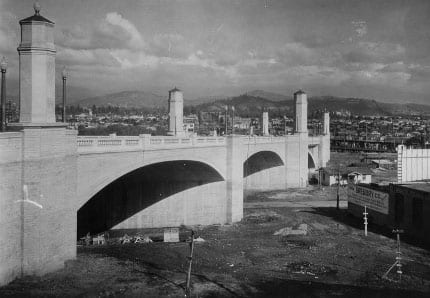 This concrete and steel bridge in Atwater Village spans Interstate 5 and the Los Angeles River and was completed in 1929, just three years after Walt and Roy opened Walt Disney Studios a half-mile away.