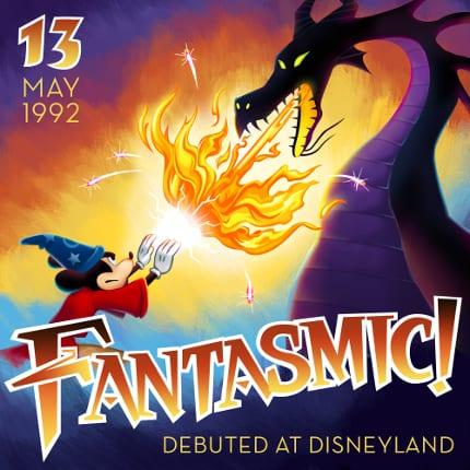 Fantasmic! debuted at Disneyland in 1992.