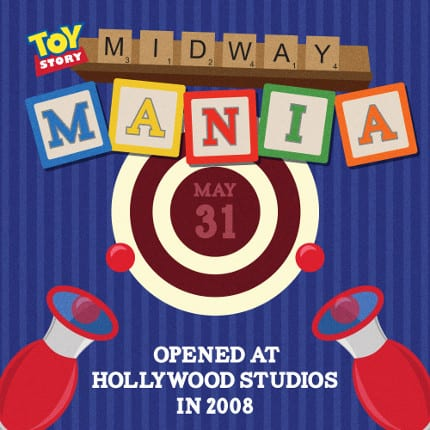 Toy Story Midway Mania opened at Hollywood Studios in 2008