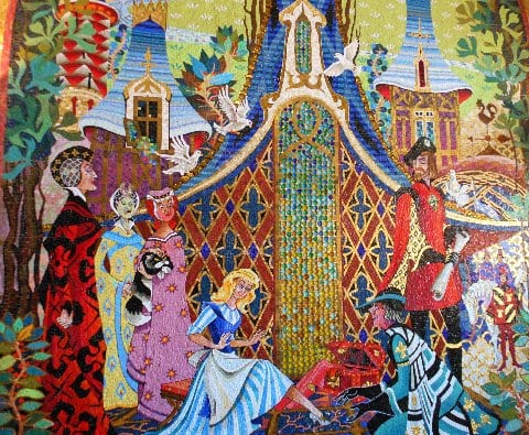 Cinderella castle 39 s mosaic the main street mouse for Disney world mural