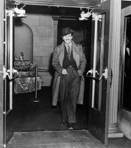 Walt exiting the famous Carthay Circle Theatre.