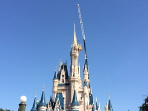 cinderella castle at the magic kingdom appears to have an additional tower these days ok not really but the huge crane next to it sure makes it look that
