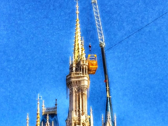 Christmas Lights Being Hung on Cinderella Castle 5