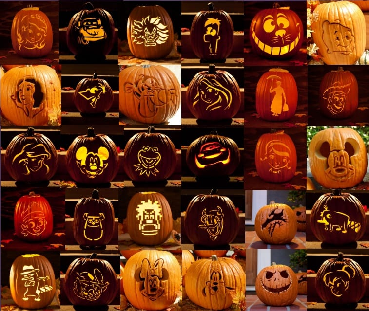 A collection of disney character pumpkin carving patterns