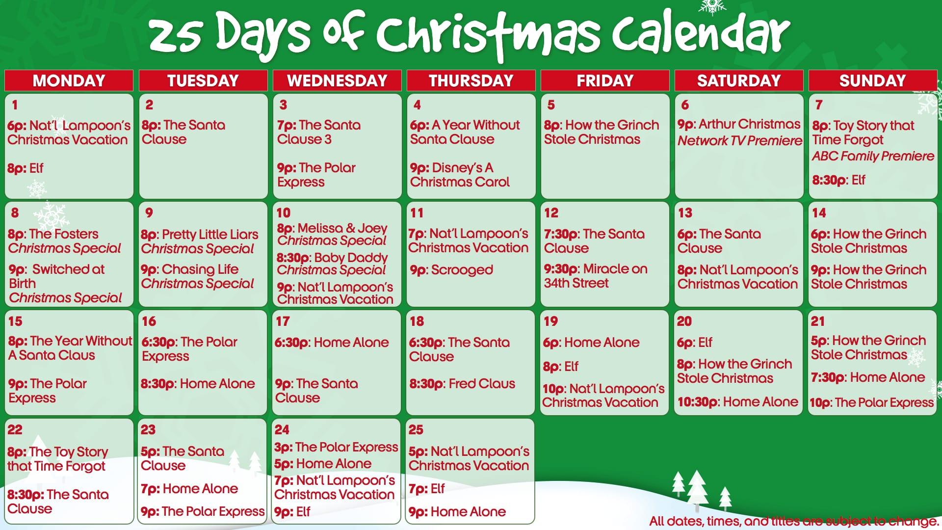 Abc Family 25 Days Of Christmas.Abc Family S 25 Days Of Christmas Starts Tomorrow