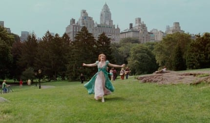 In one shot Giselle runs epicly up a grassy hill, just like Belle in Beauty and the Beast.