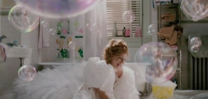One shot shows Giselle's reflection in bubbles as she scrubs the floor, just like the scene in Cinderella.