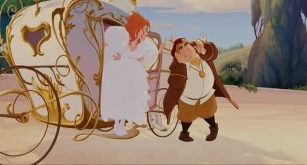 Cinderella's pumpkin carriage inspired the design for Giselle's carriage. It's unclear, however, if the horses here are undercover mice.