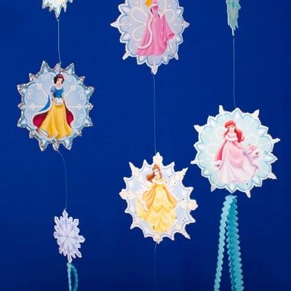 Snow Day Crafting Fun ~ Disney Princess Snowflake Mobile! 4
