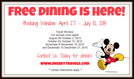 Disney has just released FREE DINING offers for Fall! Details Below! 1