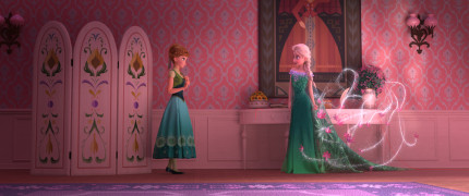 "ALL DRESSED UP — Elsa celebrates Anna's birthday by throwing a party full of surprises and presents, including summer dresses, until Elsa's icy powers have a few unintended consequences. The all-new Walt Disney Animation Studios short ""Frozen Fever"" opens in front of ""Cinderella"" on March 13, 2015. ©2015 Disney. All Rights Reserved."