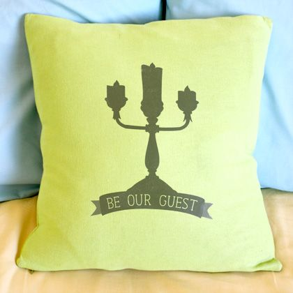 "Beauty and the Beast-Inspired ""Be Our Guest"" Throw Pillow 1"