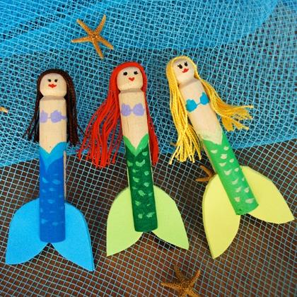 Little Mermaid Clothespin Dolls ~ Summer Craft 31