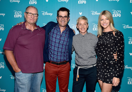 "ANAHEIM, CA - AUGUST 14: (L-R) Actors Ed O'Neill, Ty Burrel, Ellen DeGeneres and Kaitlin Olson of FINDING DORY took part today in ""Pixar and Walt Disney Animation Studios: The Upcoming Films"" presentation at Disney's D23 EXPO 2015 in Anaheim, Calif. (Photo by Alberto E. Rodriguez/Getty Images for Disney) *** Local Caption *** Ed O'Neill; Ty Burrel; Ellen DeGeneres; Kaitlin Olson"