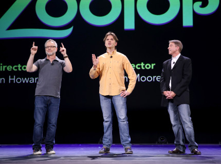 "ANAHEIM, CA - AUGUST 14: (L-R) Directors Rich Moore and Byron Howard and producer Clark Spencer of ZOOTOPIA took part today in ""Pixar and Walt Disney Animation Studios: The Upcoming Films"" presentation at Disney's D23 EXPO 2015 in Anaheim, Calif. (Photo by Jesse Grant/Getty Images for Disney) *** Local Caption *** Byron Howard; Rich Moore; Clark Spencer"