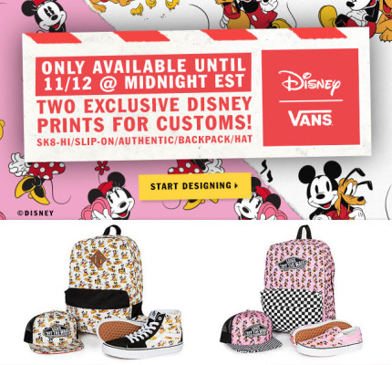 Vans Is Offering Disney Fans The Chance To Customize Items, Until 11/12/15 9