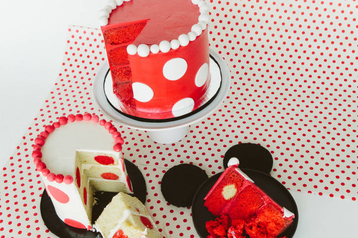 Minnie Mouse Polka Dot Cake ~ Recipe #rockthedots 11