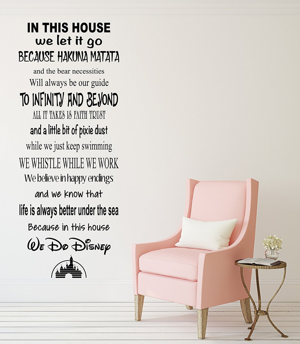 Check out these great disney decals to decorate around your home in this house we do disney famous movie quote wall decal living room decor art vinyl amipublicfo Choice Image