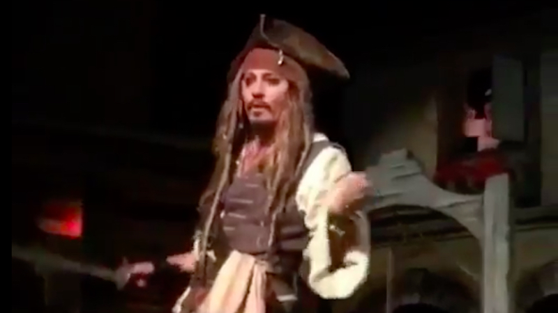 Johnny Depp Surprises Pirates of the Caribbean Riders at Disneyland 2