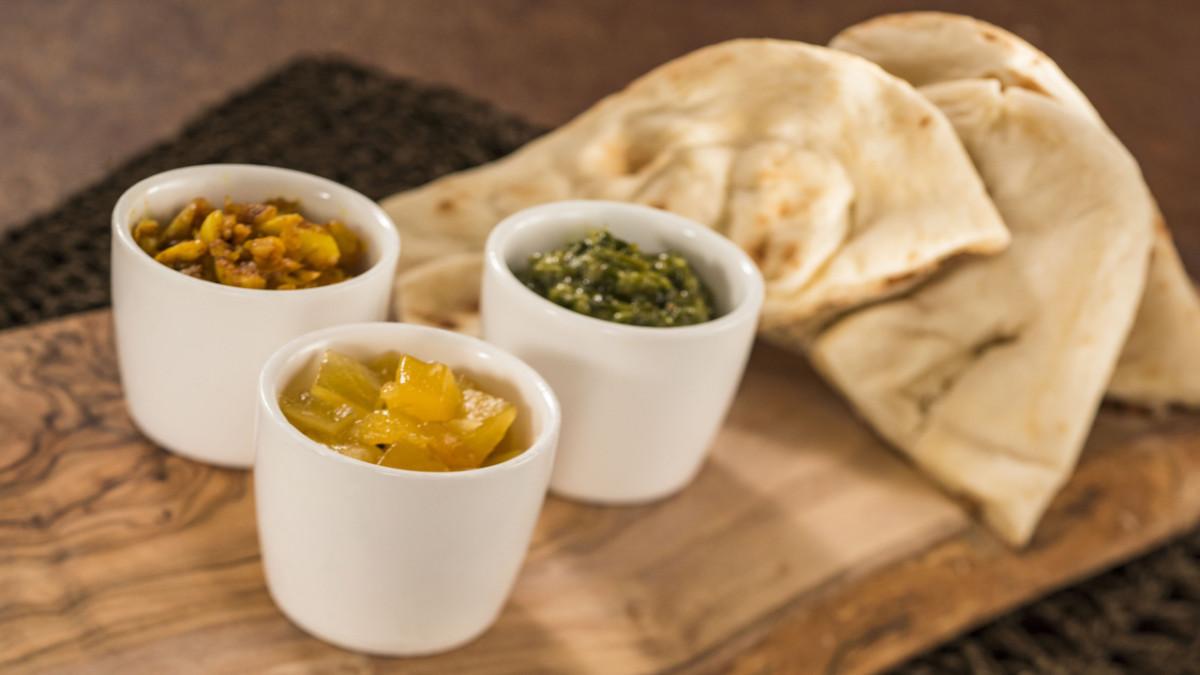 Warm Indian Bread with Pickled Garlic, Mango Salsa and Coriander Pesto Dips