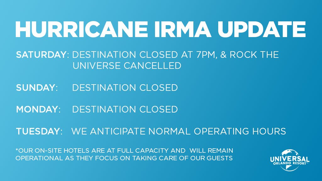 Universal Orlando Resort Closure Information Due To #HurricaneIrma 2