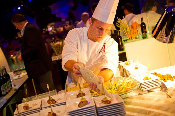 2017 Party for your Senses chef setting up dessert for guests
