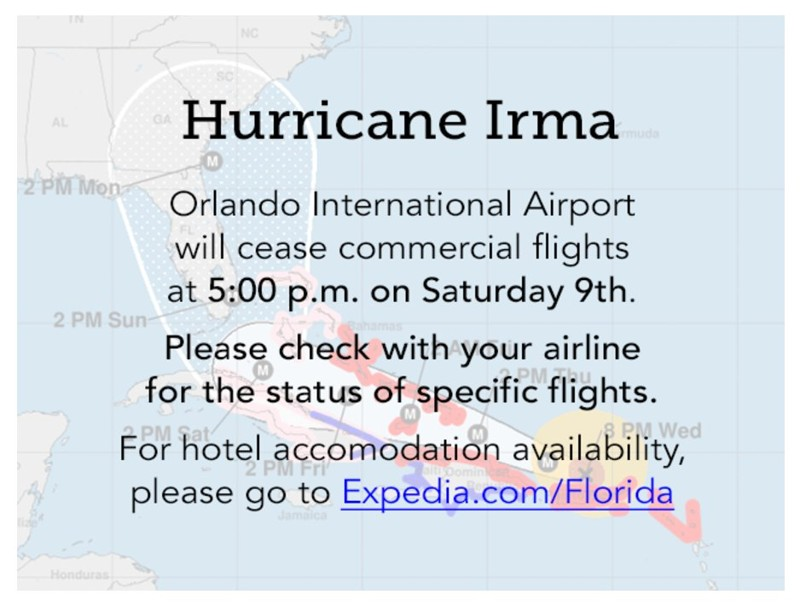 Update on Orlando International Airport Closure Plan #HurricaneIrma 2