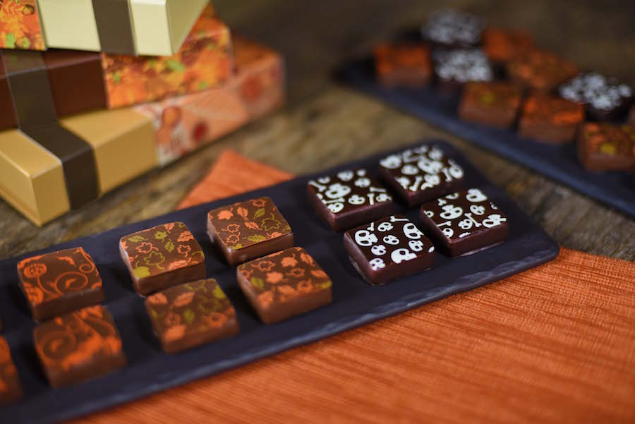 The Ganachery pumpskin spice latte-flavored and maple pecan-flavored chocolate ganache squares
