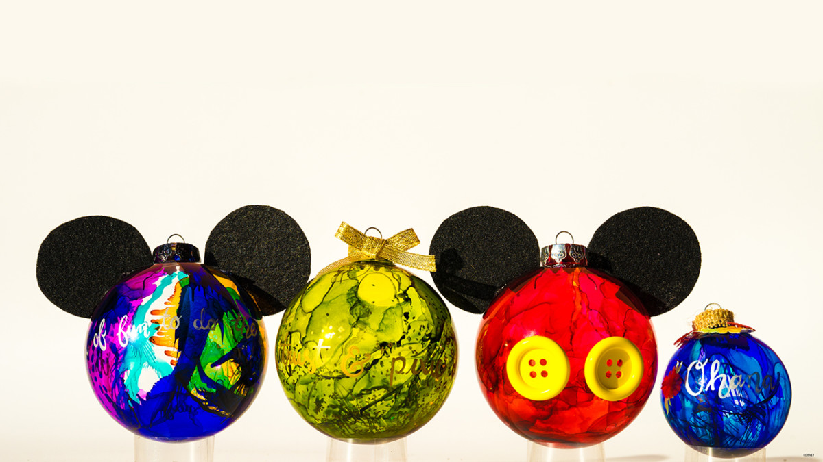 Disney Holiday DIY: Create Mickey-Inspired Marbled Glass Ornaments 3