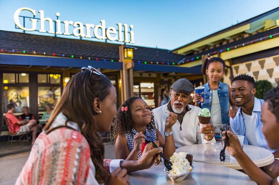 Family Enjoying Ice Cream at Ghirardelli Chocolate Company at Disney Springs
