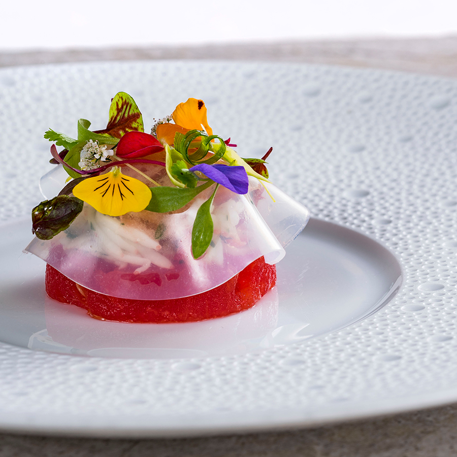 Alaskan King Crab and Compressed Watermelon, from Victoria & Albert's