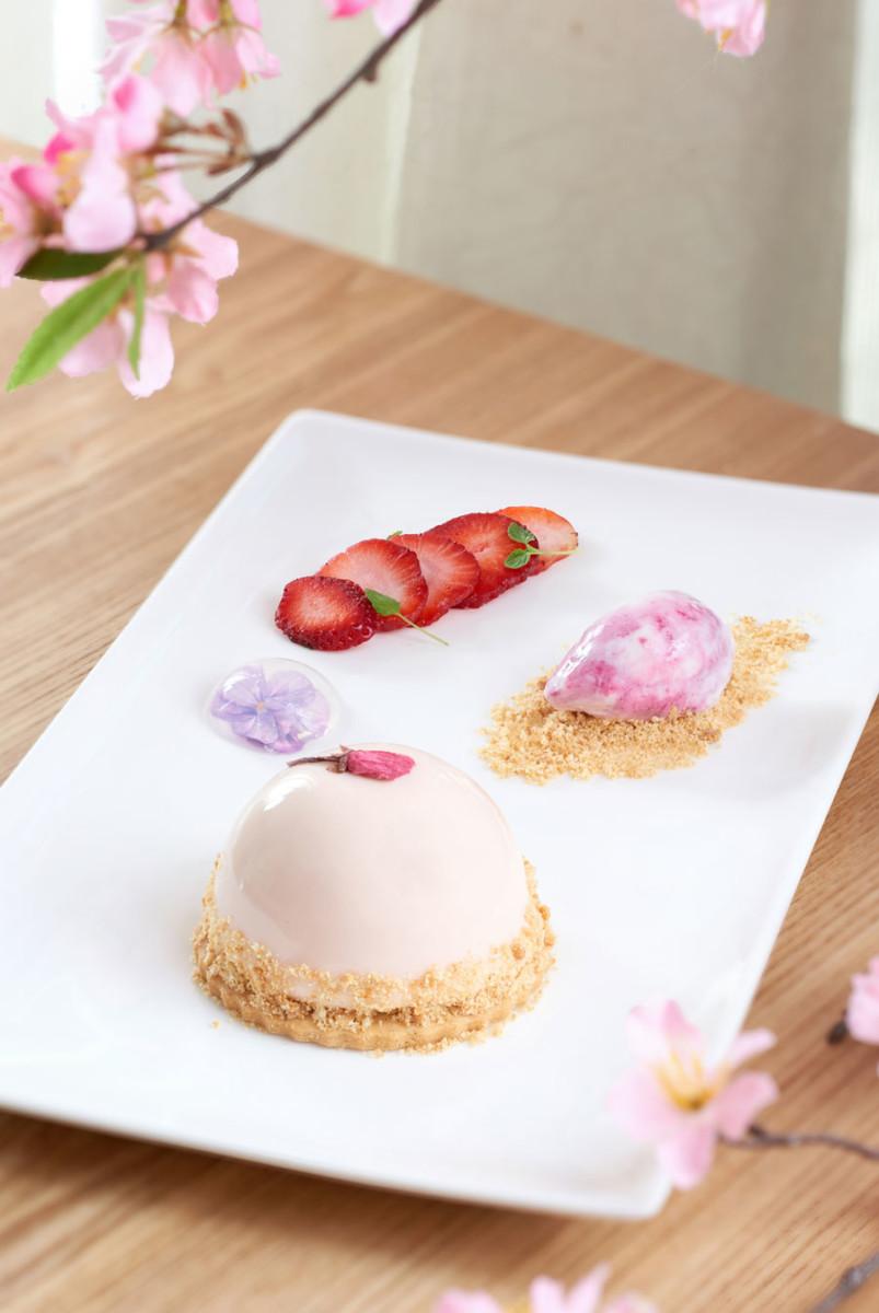 Sakura and Peach Bavarian Dessert