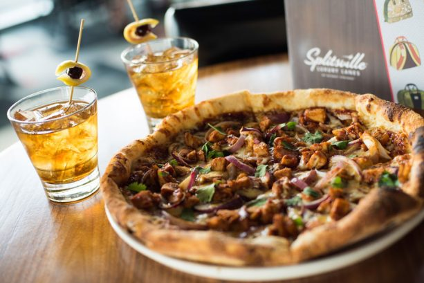 BBQ Chicken Pizza and The Trifecta at Splitsville Dining Room on the Disney Springs Bourbon Trail