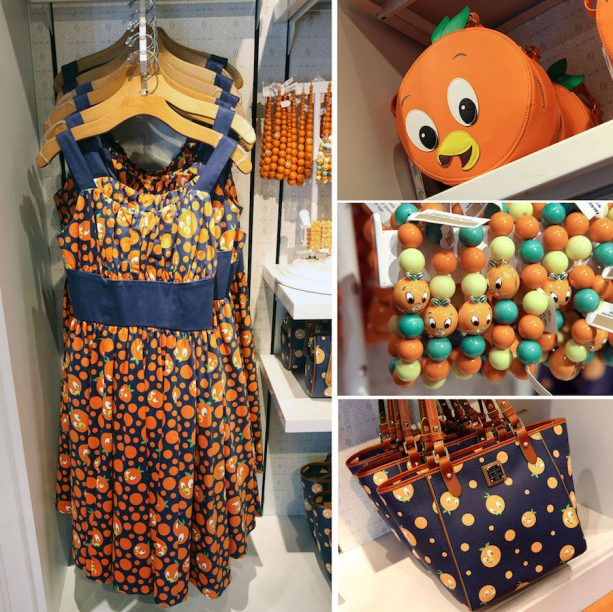 Orange Bird-inspired dresses and accessories at The Dress Shop at Disney Springs