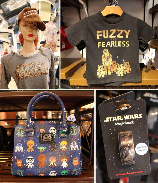 Chewbacca-inspired sweatshirt, handbag, MagicBand, and kid's T-shirt