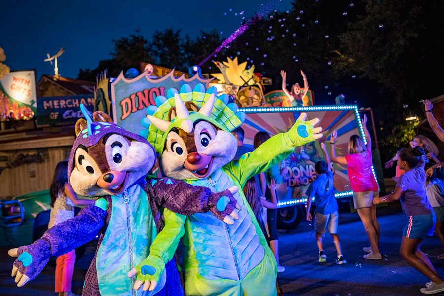 Dino-Riffic dance party with Chip and Dale during Donald's Dino-Bash at Disney's Animal Kingdom park