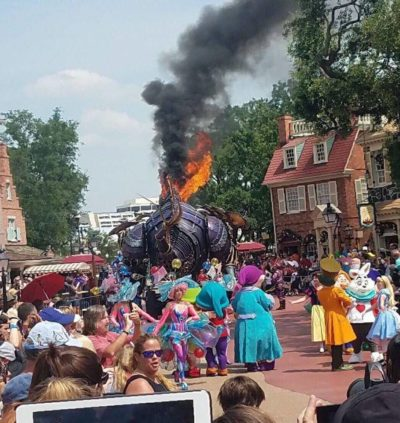 The Maleficent Dragon Catches Fire in today's Festival of Fantasy Parade 1