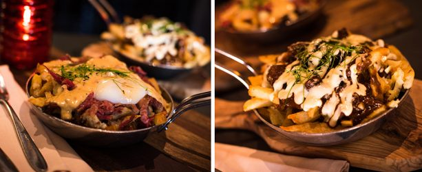 Beef Brisket Benedict Poutine and Beef Bouruignon Poutine at Le Cellier Steakhouse at Epcot