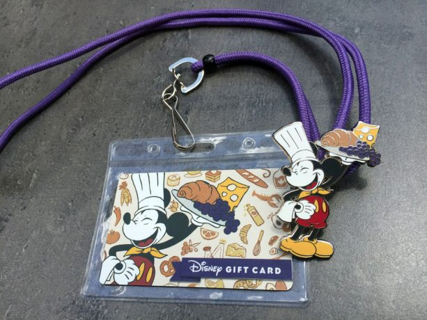 Epcot International Food & Wine Festival limited-release $250 Disney Gift Card that comes with a coordinating lanyard and a special medallion featuring Chef Mickey