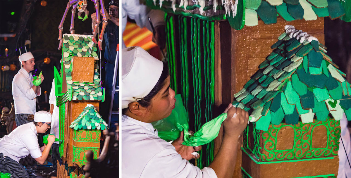 Disneyland Pastry Chefs working on the Haunted Mansion Holiday 2018 Gingerbread House at Disneyland Park