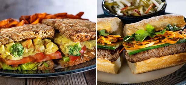 Island Curry Eggless Sandwich and Bahn Plant-Based Mi Sandwich at Sebastian's Bistro at Disney's Caribbean Beach Resort