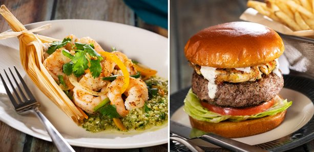 Sauteed Shrimp and Tamales and Crab Cake-Topped Burger at Sebastian's Bistro at Disney's Caribbean Beach Resort