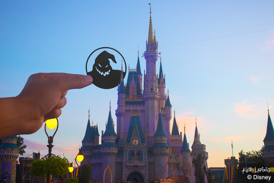 Oogie Boogie Silhouette watches over the Magic Kingdom Park
